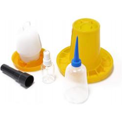 Set de bază pentru eclozare - SET - hrănitor, adăpător, pulverizator de ouă, sticlă și ovoscop
